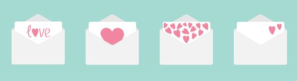 Four envelope with hearts set line. Happy Valentines Day. Love card. Flat design. Blue background. Isolated vector illustration