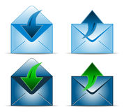 Four envelope icons. With up and down arrow, vector illustration Stock Images