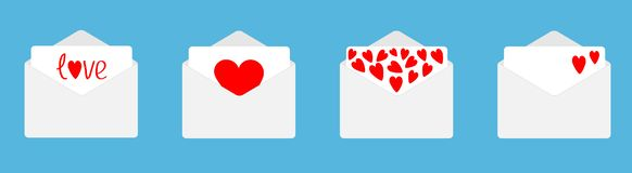 Four envelope with red hearts set line. Happy Valentines Day. Love card. Flat design. Blue background. Isolated royalty free illustration