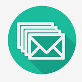Four envelopes flat icon with long shadow. Vector. Illustration. Social networking and communication Stock Image