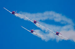 Four Eqstra Harvards in formation approach head on Stock Photos