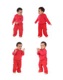 Four equal baby girls in red Royalty Free Stock Images