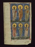 The Four Evangelists and Two Apostles, The four evangelists and the two chief apostles, Walters Manuscript W.530.C, fol. 211r royalty free stock images