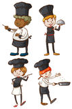 Four excellent chefs royalty free illustration