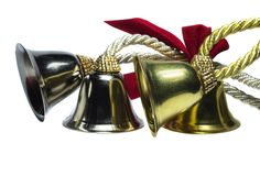 Four exotic christmas bells. On white background stock image