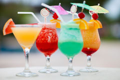 Four exotic cocktails Royalty Free Stock Photography