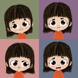 Four expressions. Illustration of four drawings of the same round-eyed young girl with different expressions - happy, sad, angry and surprised - arranged in a Stock Photography