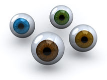Four eyeball with different colors. 3d illustration Royalty Free Stock Photo