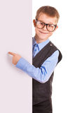Four-eyes Boy holding a banner isolated on white Stock Photos