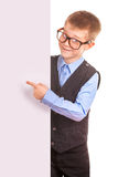 Four-eyes Boy holding a banner isolated on white Royalty Free Stock Photography