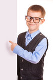 Four-eyes Boy holding a banner  Stock Image