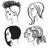 Four face in profile. Vector silhouettes of girls. Vector silhouettes of girls hairstyles. Four face in profile Royalty Free Stock Image