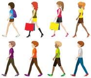 Four faceless girls and four faceless boys Stock Image