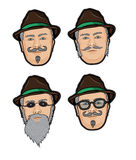 Four faces. Of the men in brown hat vector illustration