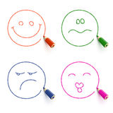 Four faces with different emotions Royalty Free Stock Photos