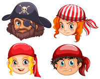 Four faces of pirate crews Royalty Free Stock Photo