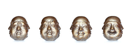 Four faces of the same Buddha head Royalty Free Stock Images