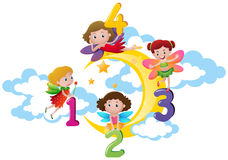 Four fairies counting numbers on the moon Stock Images