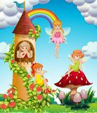 Four fairies flying in garden at day time. Illustration Royalty Free Stock Photos
