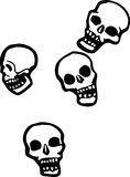 Four falling Skulls Stock Images