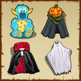 Four fancy costume for other theme parties Royalty Free Stock Images