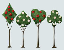 Four fancy tree. Set of four bizarre trees with card suits and roses . Computer graphics vector illustration