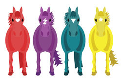 Four Fantasy Horses. Illustration of four colourful fantasy horses with white background royalty free illustration