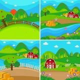 Four farm scenes with barns and apple trees Stock Photos
