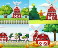 Four farm scenes with windmills and barns Royalty Free Stock Image