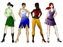 Four fashionable girls Stock Images