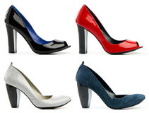 Four female high-heeled shoes Royalty Free Stock Photo