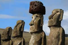 Four of fifteen huge Moai statues of Ahu Tongariki ceremonial platform on Easter Island archaeological site, Chile. South America royalty free stock photography
