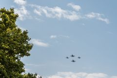 Four fighter jet flying in Spanish National Day Parade Royalty Free Stock Photography