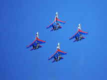 Four fighters in sky Royalty Free Stock Image