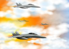Four fighting jet in orange sky. Illustration Royalty Free Stock Photography