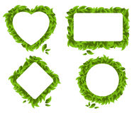 Four figures of leaves. Heart, a rhombus, circle, and rectangle are made of leaves Royalty Free Stock Image