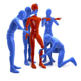 Four figures, men, blue team building up new, red figure, man. 3d rendering isolated on white background Stock Images