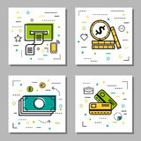 Four finance Thin Line Icons. Vector square four finance Thin Line Icons. Credit Cards, money, coins and check from atm. Use for financial or banking topics Stock Photos