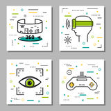 Four finance Thin Line Icons. Vector four virtual reality thin line icons. Panoramic 360 degrees view, play station, eye and head set for entertainment Royalty Free Stock Images