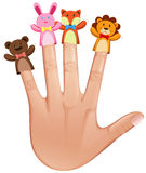 Four finger puppets on human hand Stock Photos