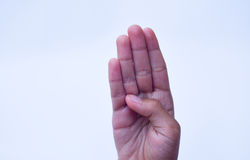 Four finger sign,hand sign concept Stock Photo
