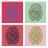 Four fingerprints in pop-art Stock Images