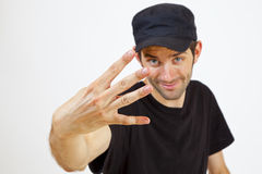 Four fingers. A Man is presenting you four Fingers Stock Images