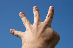 Four fingers. Hand with four fingers stock image