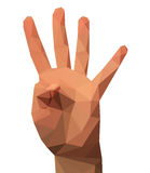 Four fingers of the hand of the low poly polygon Stock Images
