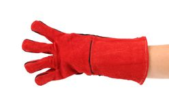 Four fingers in heavy-duty red glove. Royalty Free Stock Images