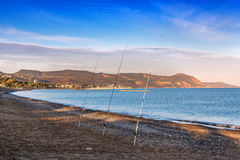 Four fishing rods Stock Image