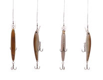 Four fishing wobbler. Four fishing floating wobbler hanging top of the screen isolated on white Stock Images