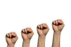 Four fist. A closed fist of a woman in a white background Royalty Free Stock Photography