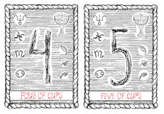 Four and five of cups. The tarot card. Royalty Free Stock Images